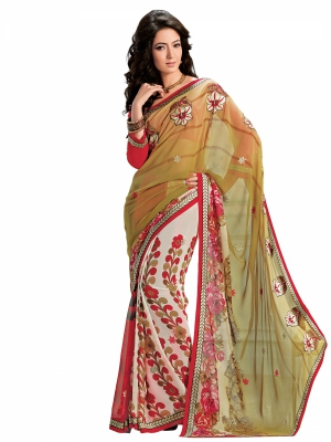 Multicolour Designer Georgette Embroidery Work Sarees With Blouse Piece SGMNT-4753-B