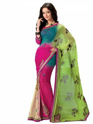 Multicolour Designer Georgette Embroidery Work Sarees With Blouse Piece SGMNT-4754-A