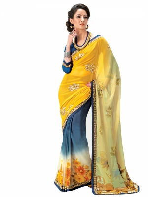 Yellow And Grey Designer Georgette Printed Lace Border Sarees With Blouse Piece SGMNT-4755-A