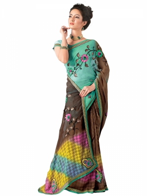 Multicolour Designer Georgette Embroidery Work Sarees With Blouse Piece SGMNT-4759-B