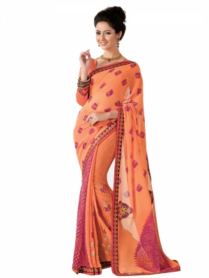 Orange Designer Georgette Embroidery Work Sarees With Blouse Piece SGMNT-4760-A