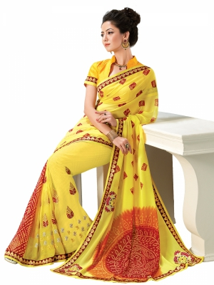 Yellow Designer Georgette Embroidery Work Sarees With Blouse Piece SGMNT-4760-B