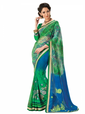 Green And Blue Designer Georgette Embroidery Work Sarees With Blouse Piece SGMNT-4761-A