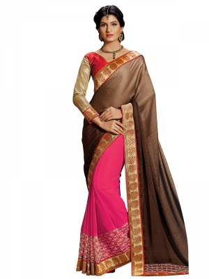 Brown And Pink Designer Georgette Embroidery Work Sarees With Blouse Piece SGRPV-7503