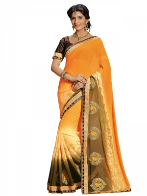 Yellow Designer Georgette Embroidery Work Sarees With Blouse Piece SGRPV-7507