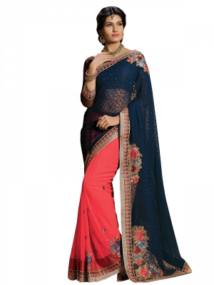 Blue And Peach Designer Georgette Embroidery Work Sarees With Blouse Piece SGRPV-7509