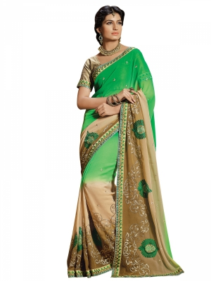 Green And Cream Designer Georgette Embroidery Work Sarees With Blouse Piece SGRPV-7511