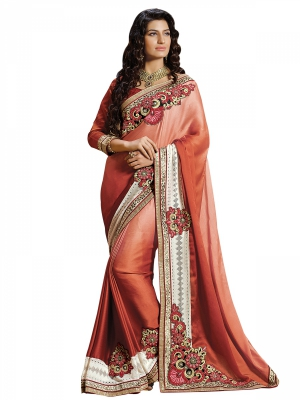 Brown Designer Georgette Embroidery Work Sarees With Blouse Piece SGRPV-7514