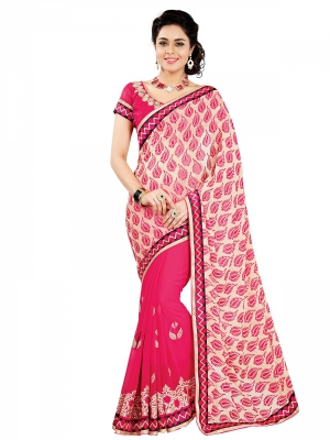 Pink Designer Georgette Embroidery Work Sarees With Blouse Piece SGSLS-7322-A