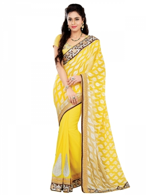 Yellow Designer Georgette Embroidery Work Sarees With Blouse Piece SGSLS-7330-B