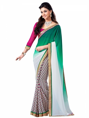 Multicolour Designer Georgette Lace Border Sarees With Blouse Piece VSSRQ-1204