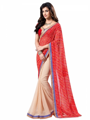 Red And Cream Designer Georgette Lace Border Sarees With Blouse Piece VSSRQ-1206