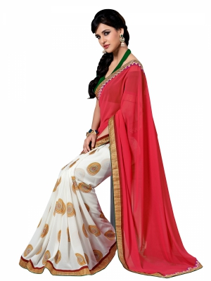 Red And White Designer Georgette Lace Border Sarees With Blouse Piece VSSRQ-1209