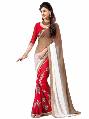 Brown And Red Designer Georgette Lace Border Sarees With Blouse Piece VSSRQ-1216