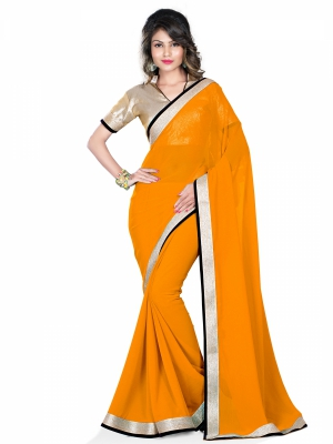 Shonaya Yellow Colour Faux Georgette Printed Sarees With Blouse Piece HIPMC-2015