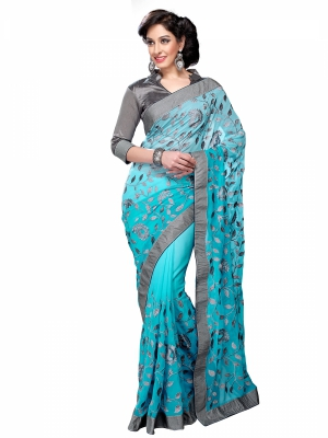 Shonaya Skyblue Colour Georgette Embroidery Work Sarees With Blouse Piece KLIMP-2181