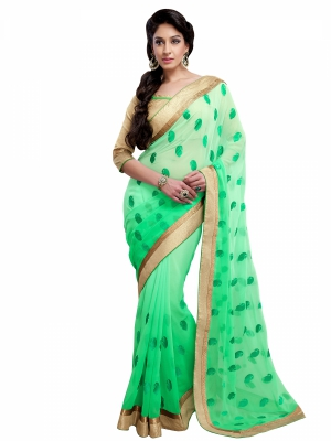 Shonaya Springgreen Colour Georgette Embroidery Work Sarees With Blouse Piece KLIMP-2190