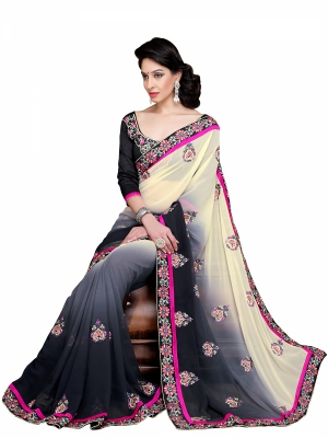 Shonaya Black And Lightyellow Colour Georgette Embroidery Work Sarees With Blouse Piece KLIMP-2193