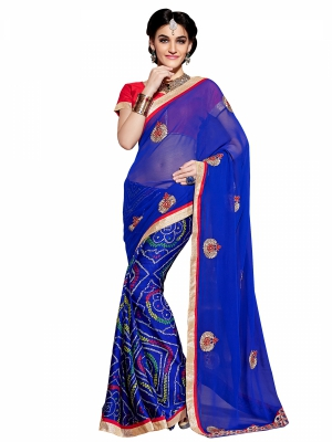 Shonaya Blue Colour Georgette Embroidery Work Sarees With Blouse Piece PIMAG-121