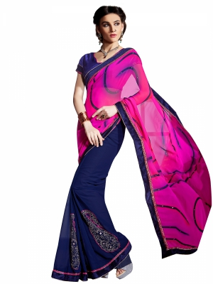 Shonaya Pink And Blue Colour Georgette Embroidery Work Sarees With Blouse Piece PIMAG-123