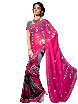 Shonaya Deeppink Colour Georgette Embroidery Work Sarees With Blouse Piece PIMAG-128