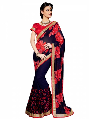 Shonaya Blue Colour Georgette Embroidery Work Sarees With Blouse Piece PIMAG-130