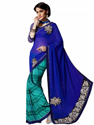Shonaya Blue And Lightgreen Colour Georgette Embroidery Work Sarees With Blouse Piece PIMAG-131