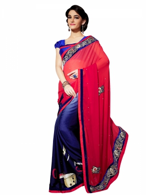 Shonaya Red And Blue Colour Georgette Embroidery Work Sarees With Blouse Piece PIMAG-134