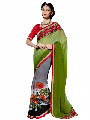 Shonaya Green And Gray Colour Georgette Embroidery Work Sarees With Blouse Piece PIMAG-136