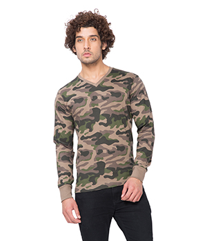 Clifton Mens Army V-Neck Full Slevee T-shirt AAA00017687