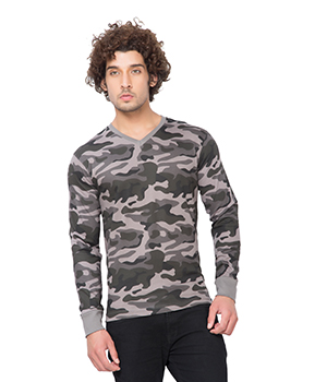 Clifton Mens Army V-Neck Full Slevee T-shirt AAA00017712