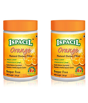 Pack of 2 Orange Flavoured Isabgol - Psyllium Husk Each Pack 100 GMS IS007
