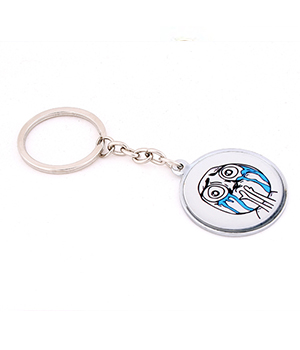 Daffodils Troll Crying Face Key Chain White Black KC7