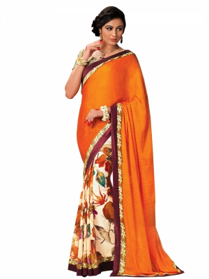 Shonaya Orange And Cream Satin And Chiffon Embroidered Sarees With Blouse Piece SGFSF-9003