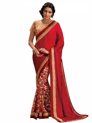 Shonaya Red Colour Satin Embroidered Sarees With Blouse Piece SGFSF-9005