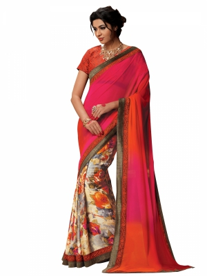 Shonaya Multicolour Satin Embroidered Sarees With Blouse Piece SGFSF-9010