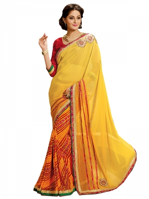 Shonaya Yellow And orange Colour Georgette Patch work Sarees With Blouse Piece SGLHR-4828