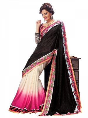 Shonaya Balck And Cream Colour Georgette Embroidered Sarees With Blouse Piece SGNCL-10404