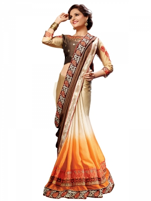 Shonaya Tan And Orange Colour Georgette Embroidered Sarees With Blouse Piece SGNCL-10405