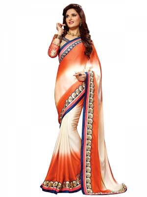 Shonaya Orange And Cream Colour Georgette Embroidered Sarees With Blouse Piece SGNCL-10406