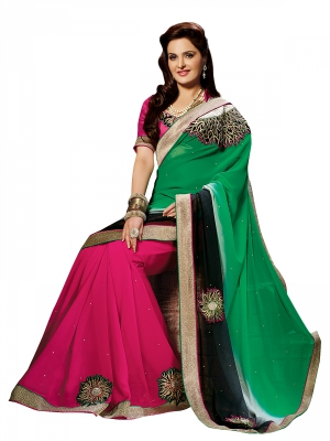 Shonaya Green And Pink Colour Georgette Embroidered Sarees With Blouse Piece SGPRS-10425