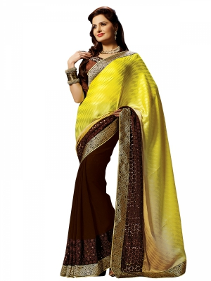 Shonaya Yellow And Mehendi Colour Georgette Embroidered Sarees With Blouse Piece SGPRS-10426