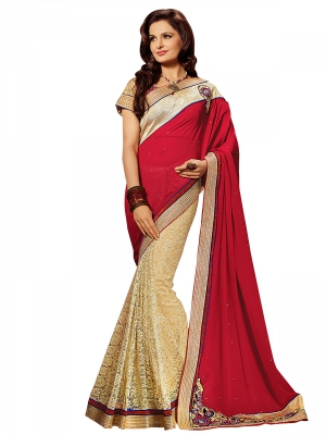 Shonaya Red And Beige Colour Georgette Embroidered Sarees With Blouse Piece SGPRS-10429