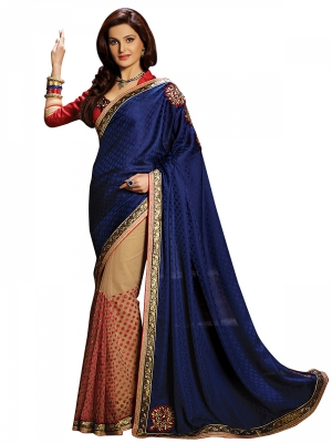 Shonaya Blue And Tan Colour Georgette Embroidered Sarees With Blouse Piece SGPRS-10431