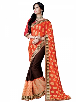 Shonaya Orange And Brown Colour Georgette Embroidered Sarees With Blouse Piece SGUNV-7573-A