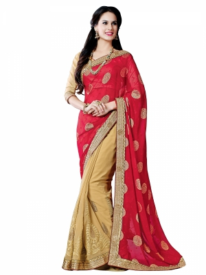 Shonaya Red And LightGolden Colour Georgette Embroidered Sarees With Blouse Piece SGUNV-7578-B