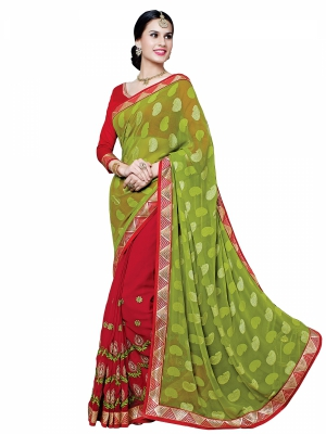 Shonaya Red And YellowGreen Colour Georgette Embroidered Sarees With Blouse Piece SGUNV-7580-A
