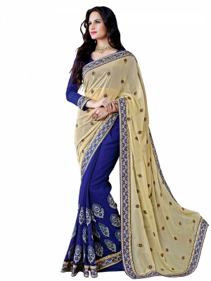 Shonaya Blue And Cream Colour Georgette Embroidered Sarees With Blouse Piece SGUNV-7582-B
