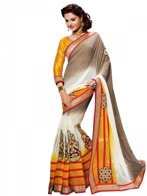 Shonaya White,Yellow And Silver Colour Georgette Embroidered Sarees With Blouse Piece SGVCT-7553-B