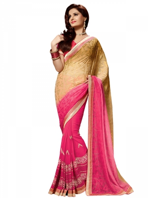 Shonaya PinkAnd Tan Colour Georgette Embroidered Sarees With Blouse Piece SGVCT-7556-B